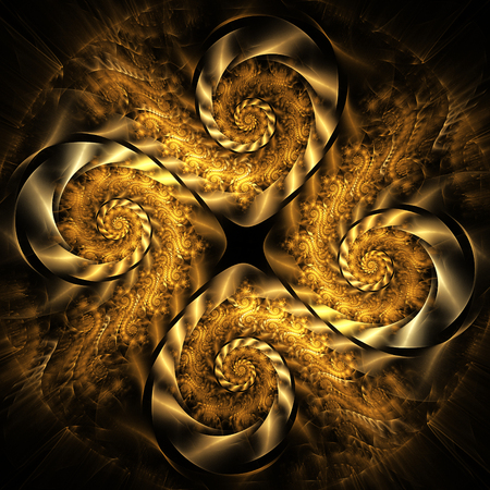 fractal flame: Abstract fantasy golden spiral ornament on black background. Creative fractal design for greeting cards or t-shirts.