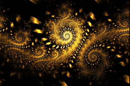 fantasy background: Abstract fantasy golden swirly ornament on black background. Creative fractal design for greeting cards or t-shirts.