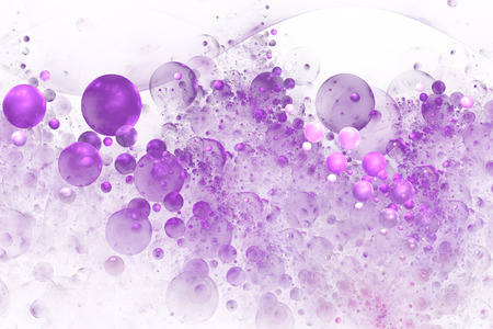 Abstract colorful pink and purple drops on white background. Fantasy fractal texture for postcards or t-shirts.