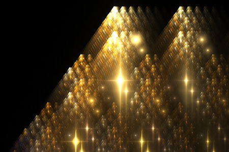 Abstract shining golden shapes on black background. Fantasy fractal texture.