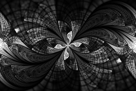 Abstract floral ornament on black background. Symmetrical pattern in black and white colors. Fantasy fractal design for postcards, wallpapers or t-shirts.
