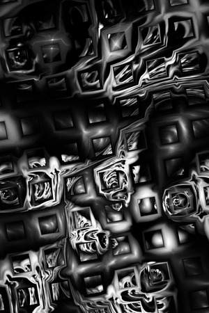 colours tints: Abstract monochrome metallic puzzles on black background. Creative fractal design for greeting cards or t-shirts. Stock Photo