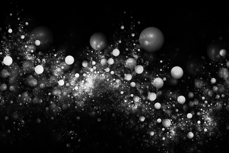 Monochrome sparkles. Abstract glowing drops on black background. Fantasy black and white fractal texture for postcards or t-shirts.