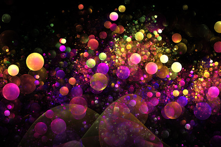 Abstract glowing colorful yellow, orange, pink and purple bubbles on black background. Fantasy fractal texture. Standard-Bild