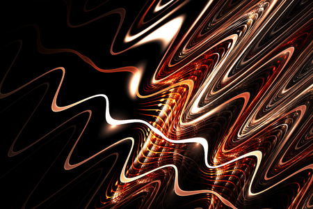 Light traces. Abstract shining lines and swirls on black background. Fantasy fractal texture in white, orange and dark red colors. Stock Photo