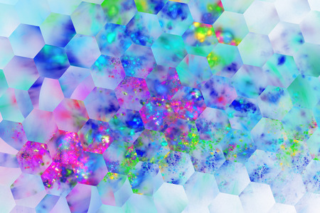 green and purple: Abstract transparent shapes on white background. Fantasy hexagonal fractal texture in neon blue, purple, pink and green colors. 3D rendering. Stock Photo