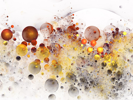 fantasy background: Color splashes. Abstract orange, yellow and black drops on white background. Fantasy fractal texture for postcards or t-shirts. 3D rendering. Stock Photo