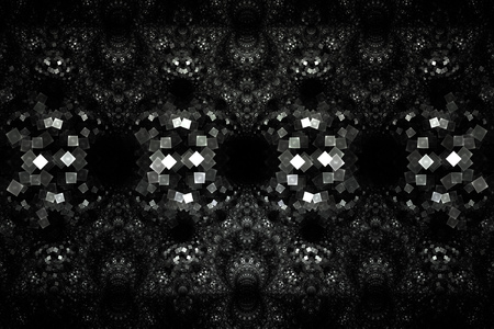 gray pattern: Silver ornament. Abstract symmetric monochrome grunge background. Fantasy vintage fractal texture in black and white colors. 3D rendering. Stock Photo
