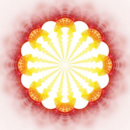 Abstract flower mandala on white background. Symmetrical pattern in red, orange and yellow colors. Fantasy fractal design for posters, postcards, wallpapers or t-shirts. Digital art. 3D rendering.