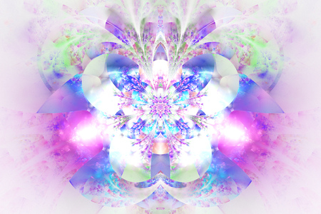 glowing: Abstract glowing flower on white background. Symmetrical pattern in blue, pink and purple colors. Fantasy fractal design for posters, postcards, wallpapers or t-shirts. Digital art. 3D rendering.