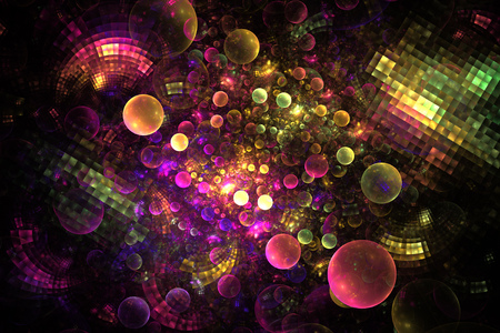 digital art: Abstract rainbow bubbles and tiles on black background. Fantasy fractal texture in pink, purple, orange, yellow and green colors. Digital art. 3D rendering.