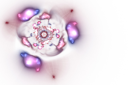 Abstract glowing rose flower on white background. Fantasy pink and blue fractal design for posters, postcards or t-shirts. Digital art. 3D rendering. Stock Photo