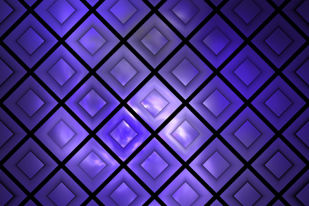 royal blue: Abstract glowing checkered grunge background. Fantasy vintage fractal texture in royal blue and black colors. 3D rendering. Stock Photo