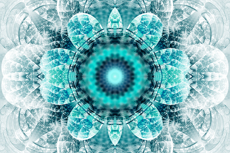 hypnotize: Abstract flower mandala on white background. Intricate symmetrical pattern in blue and black colors. Fantasy fractal design for posters, postcards, wallpapers or t-shirts. Digital art. 3D rendering.