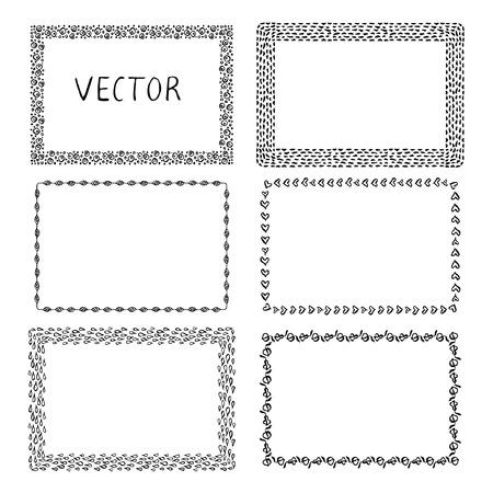 square frame: Set of hand-drawn frames. Ink illustration.