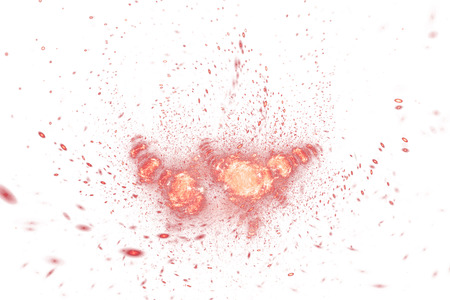 fractal pink: Bright splash. Abstract colorful orange and pink drops on white background. Fantasy fractal texture for posters, postcards or t-shirts.