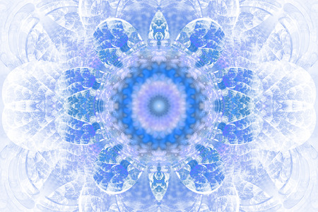 hypnotize: Abstract flower mandala on white background. Intricate symmetrical pattern in pastel blue colors. Fantasy fractal design for posters, postcards, wallpapers or t-shirts. Digital art. 3D rendering.