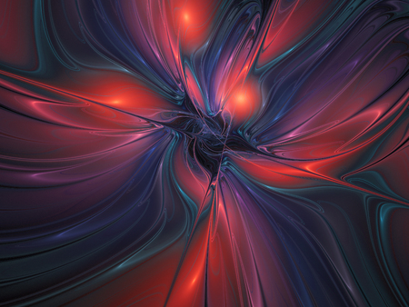 Silk texture. Abstract fantasy multicolored waves. Computer-generated fractal in red, pink, blue and dark grey colors.
