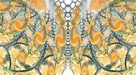 Abstract fantasy mosaic ornament on white background. Symmetrical pattern. Creative fractal design in yellow, orange and dark green colors.