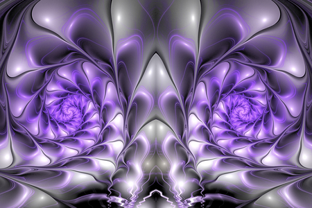 fractal pink: Abstract glossy spirals on black background. Creative fractal design in pink, grey, white and violet colors.