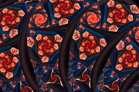 Stylized flowers. Abstract fantasy ornament. Computer-generated fractal in red, orange, black and navy blue colors.