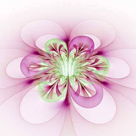 Abstract glowing colorful flower on white background. Fantasy pink and light green fractal design for posters, wallpapers, postcards or t-shirts. Digital art. 3D rendering.