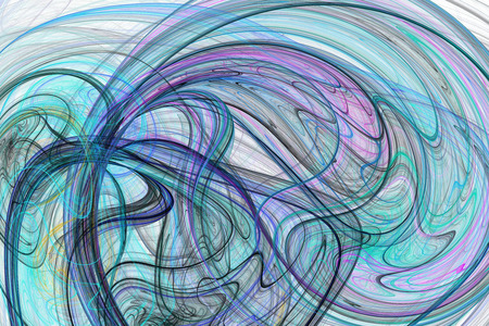 azul turqueza: Líneas de color abstractas sobre fondo blanco. Fantasía rosa, diseño fractal negro y azul para carteles, tarjetas postales o camisetas. Arte digital. representación 3D. Foto de archivo