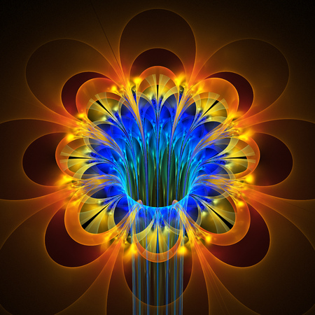 Abstract glowing colorful flower on black background. Fantasy blue, orange and yellow fractal design for posters, wallpapers, postcards or t-shirts. Digital art. 3D rendering. Standard-Bild