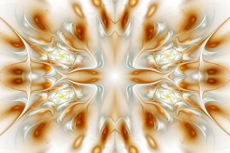 rosas naranjas: pétalos transparentes abstractas sobre fondo blanco. Fantasía diseño fractal en colores naranja, beige y gris. Foto de archivo