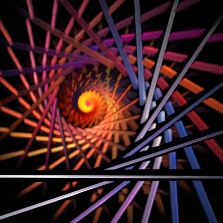 Fractal swirl. Abstract blurred orange, red and blue shapes on black background. Fantasy design for posters or t-shirts. Digital art. 3D rendering.