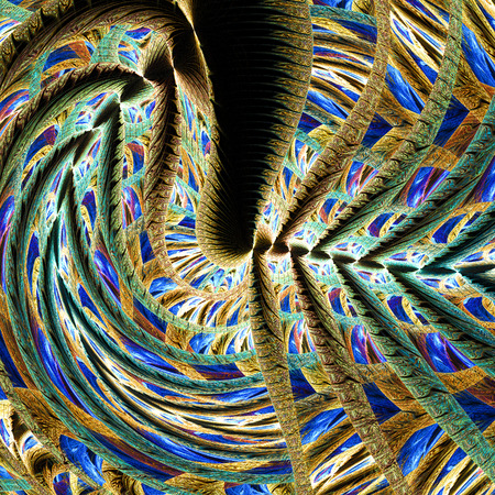 Beautiful landscape. Abstract fantasy shapes on black background. Computer-generated fractal in orange, yellow, blue, violet, green and brown colors.