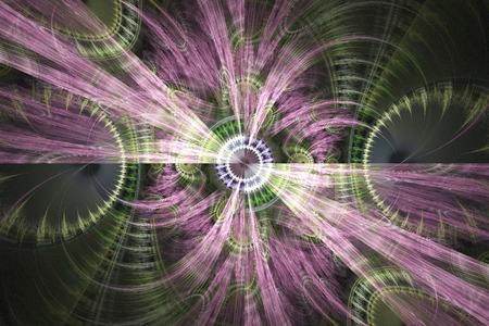 Wind rose. Abstract fantasy shapes on black background. Computer-generated fractal in rose, green, violet, white and grey colors.