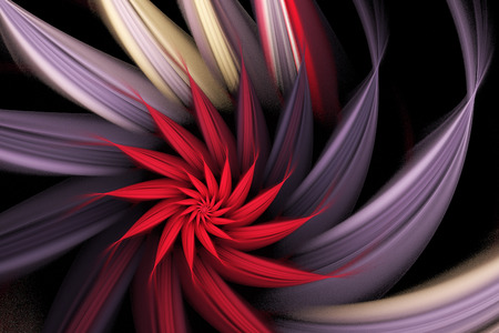 Exotic flower. Abstract multicolored spiral on black background. Computer-generated fractal in red, beige and violet colors.