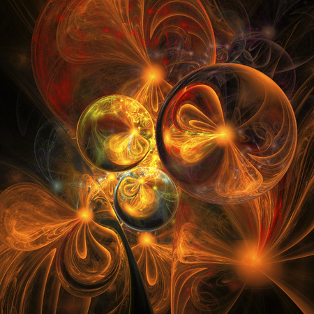 Golden seeds. Abstract shining figures on black background. Computer-generated fractal in red, yellow, orange and grey colors. Stock Photo