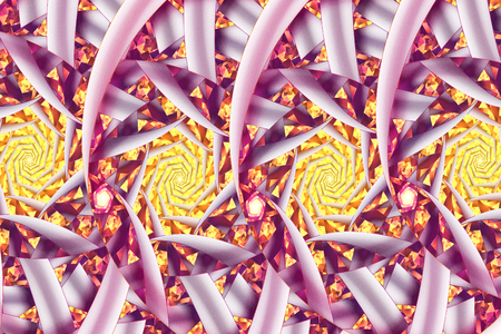 Stylized roses. Abstract fantasy ornament on white background. Computer-generated fractal in orange, yellow, pink and purple colors