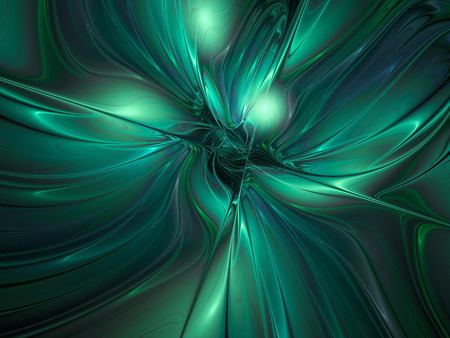 Silk texture. Abstract fantasy multicolored waves. Computer-generated fractal in emerald green and grey colors.