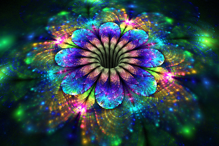 Abstract glowing rainbow flower on black background. Fantasy fractal design for posters, wallpapers or t-shirts. Digital art. 3D rendering. Standard-Bild
