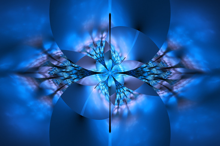 Abstract glowing colorful blue flower on black background. Fantasy fractal design for posters, wallpapers, postcards or t-shirts. Digital art. 3D rendering.