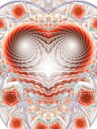 Mosaic heart. Abstract fantasy ornament on white background. Computer-generated fractal in red, grey and brown colors.