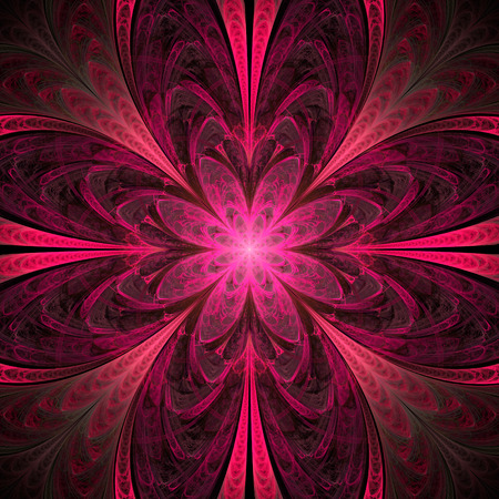 Abstract flower mandala on black background. Symmetrical pattern in rose and dark grey colors. Fantasy fractal design for postcards, wallpapers or clothes.