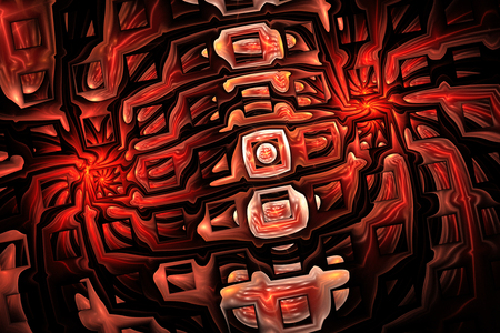Abstract shining mosaic. Fantasy fractal ornament in orange, red, brown and black colors. Stock Photo