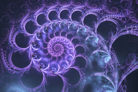 Fantasy spirals. Abstract ornament on dark grey background. Computer-generated fractal in blue and violet colors.