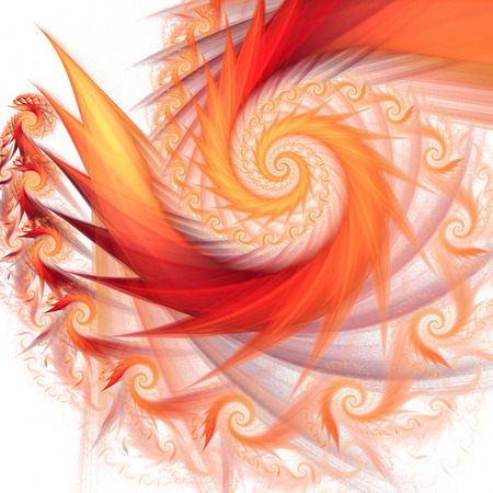 Bright flames. Abstract multicolored spiral on white background. Fractal illustration in red, yellow and orange colors.
