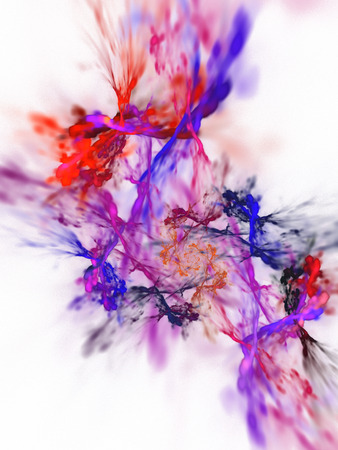 Color splash. Abstract blurred red, blue and purple swirl on white background. Fantasy fractal design for posters, greeting cards or t-shirts. Digital art. 3D rendering. Stock Photo