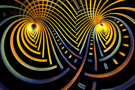 lacing: Abstract golden lacing on black background. Creative fractal design in yellow, orange, blue and brown colors. Stock Photo