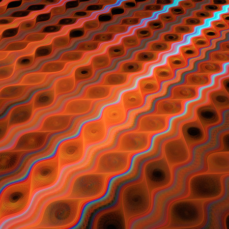 Abstract fantasy glowing waves on black background. Computer-generated fractal in red, orange, blue and brown colors. Stock Photo