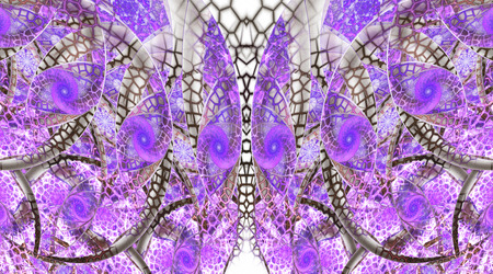 fractal pink: Abstract fantasy ornament on white background. Symmetrical pattern. Creative fractal design in grey, pink and violet colors. Stock Photo