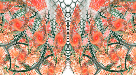 fractal pink: Abstract fantasy mosaic ornament on white background. Symmetrical pattern. Creative fractal design in red, pink, orange and dark green colors.