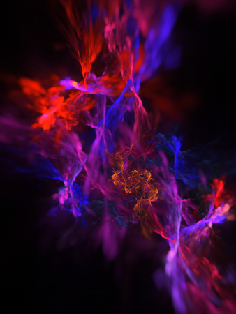 purple swirl: Color splash. Abstract blurred red, blue and purple swirl on black background. Fantasy fractal design for posters, greeting cards or t-shirts. Digital art. 3D rendering. Stock Photo