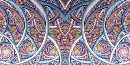 fractal pink: Abstract intricate ornament. Symmetric fractal texture in light pink, orange, blue and purple colors. Digital art. 3D rendering.